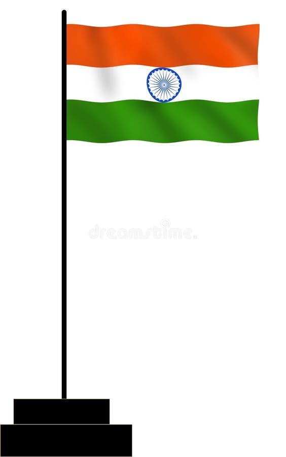 Indiański flagi państowowej falowanie z masztem ilustracja wektor