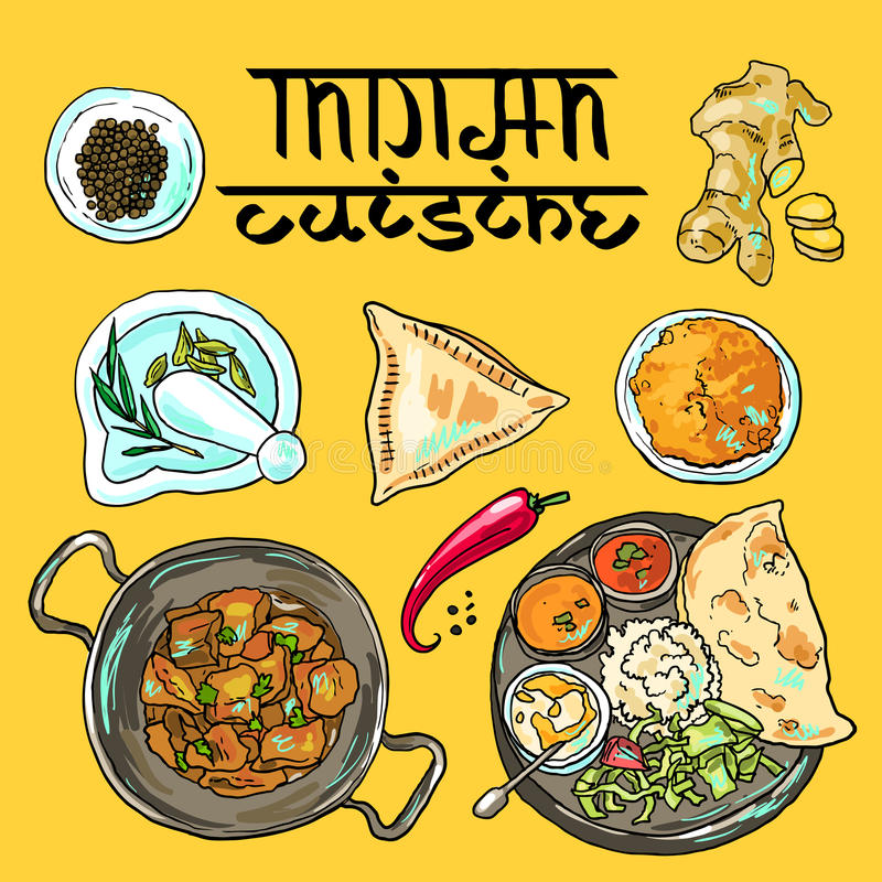 Indiański jedzenie ilustracji