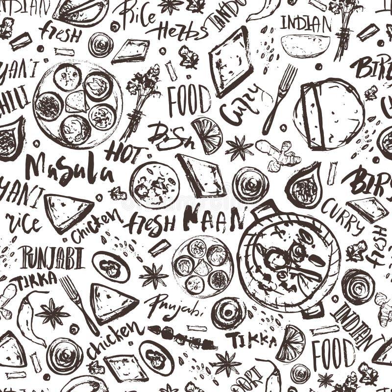 Indiański Karmowy bezszwowy deseniowy tło z literowaniem Nowożytny nakreślenie azjata menu ilustracji