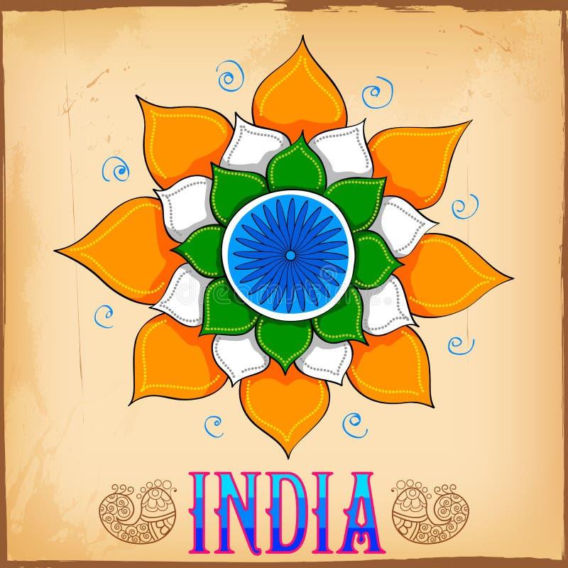 Indiański kicz sztuki stylu tło z lotosem ilustracji
