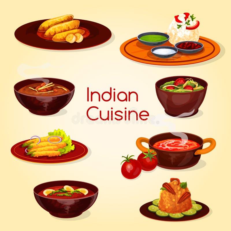 Indiański kuchni jedzenie, thali naczynie i desery, ilustracji