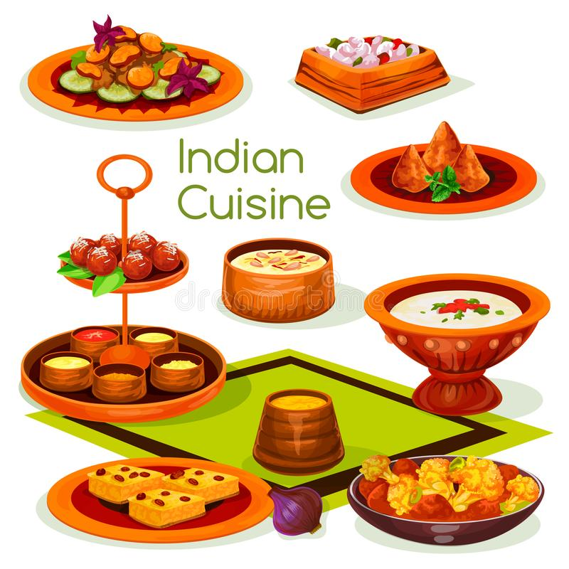 Indiański kuchnia lunch z tradycyjnym azjatykcim jedzeniem ilustracja wektor