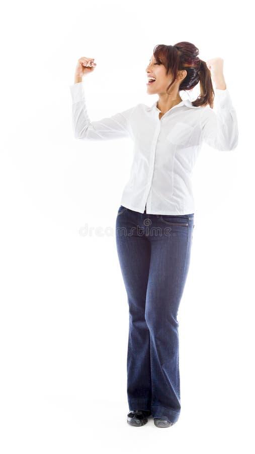 Download Indiański Młodej Kobiety Odświętności Sukces Zdjęcie Stock - Obraz złożonej z kolor, studio: 41951198
