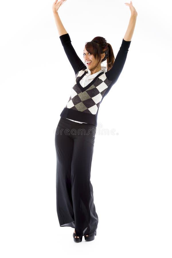 Download Indiański Młodej Kobiety Odświętności Sukces Odizolowywający Na Białym Tle Zdjęcie Stock - Obraz złożonej z folował, strzał: 41951022