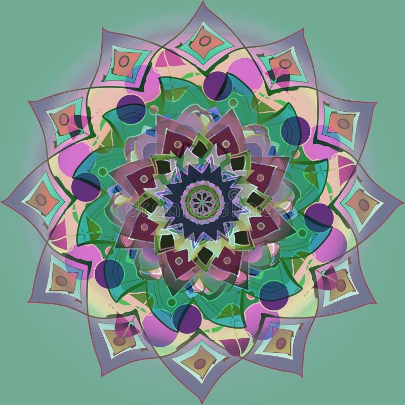 INDIAŃSKI mandala kwiatu równiny zieleni tło PASTELOWYCH kolor?w bar??g Jaskrawy wizerunek ŚRODKOWY kwiat W purpurach, menchie, p royalty ilustracja