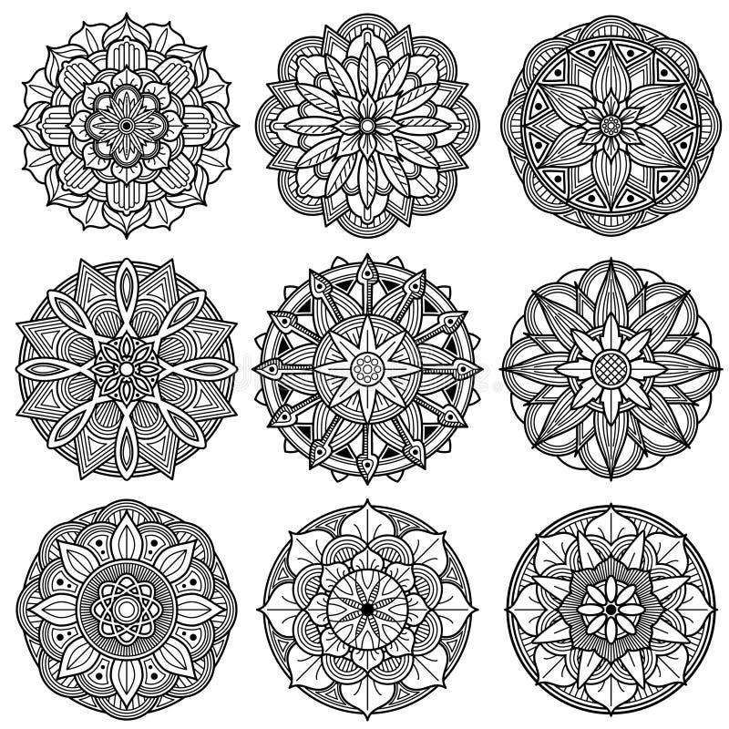 Indiański medytaci mandala wzorów wektoru set royalty ilustracja