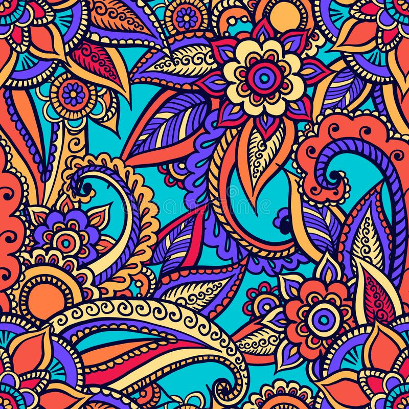 Indiański ornament, henna styl Kolorowy orientalny projekt Wektoru wzór w mendi stylu paisley ilustracji
