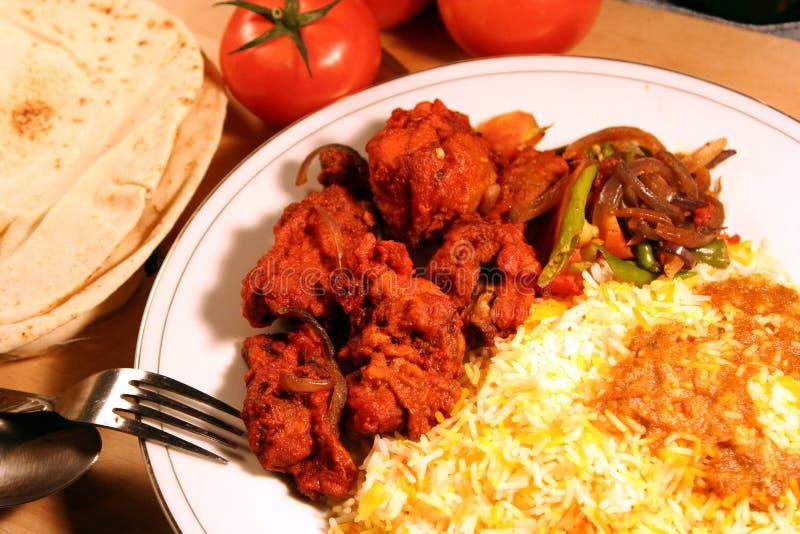 Indiański posiłku biryani jedzenie z kurczaka masala i s fotografia stock