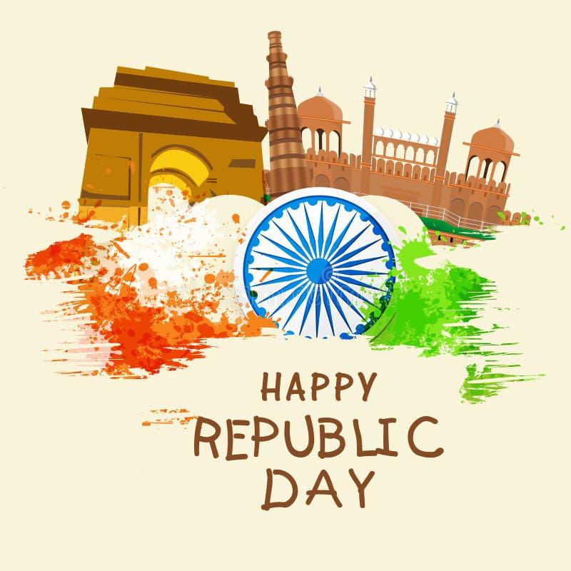Indiański republika dnia świętowanie z sławnymi zabytkami i Ashoka ilustracja wektor