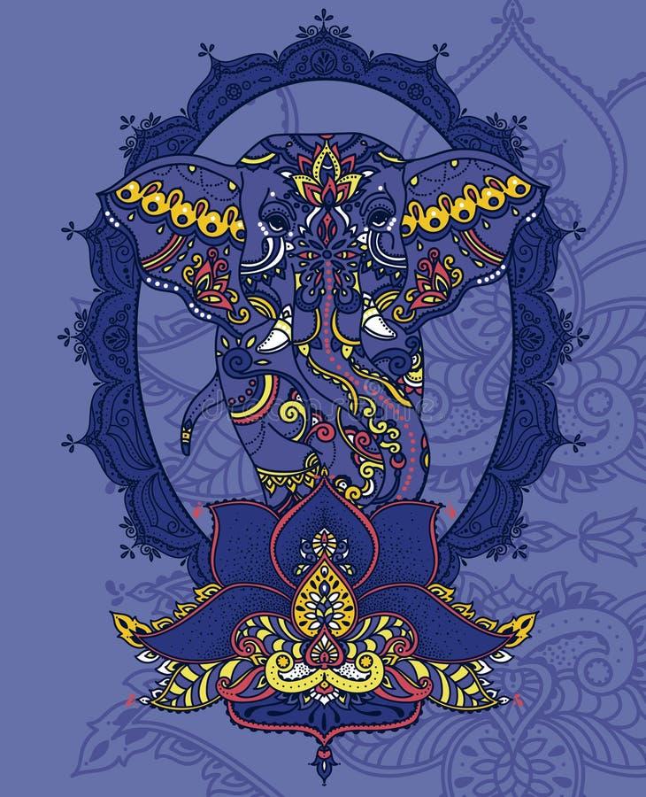 Indiański słoń w królewskiej ramie i stylizującym lotosowym kwiacie royalty ilustracja