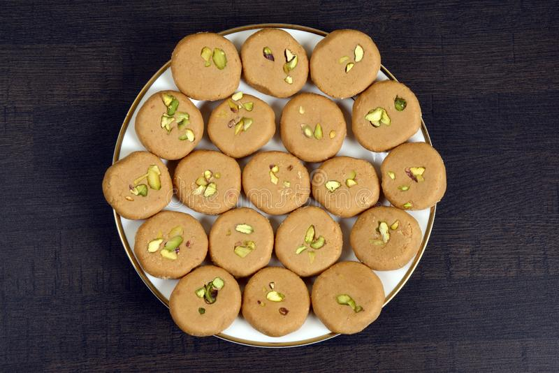 Indiański Słodki Pedha, Peda lub Peday zdjęcia stock