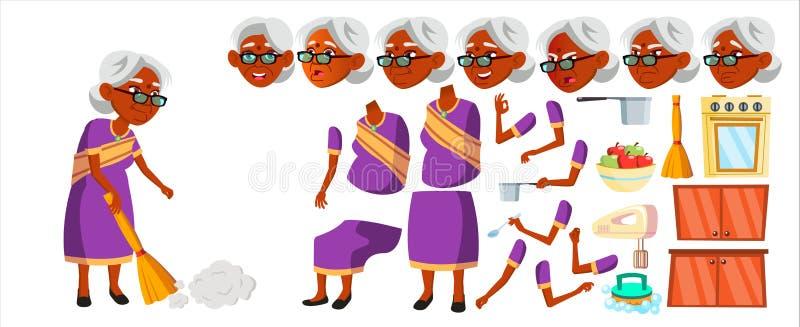 Indiański stara kobieta wektor hinduski azjaci Starszy osoba portret sari Starsi ludzi aged Animaci tworzenia set Twarz royalty ilustracja