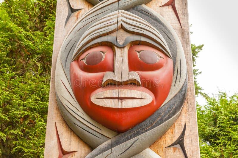 Indiański totemu zakończenie up przy Stanley Clark parkiem Vancouver zdjęcie royalty free