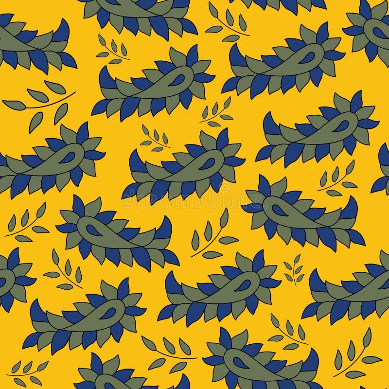 Indiański tradycyjny kalamkari Paisley i liścia wektorowy bezszwowy deseniowy tło ilustracji