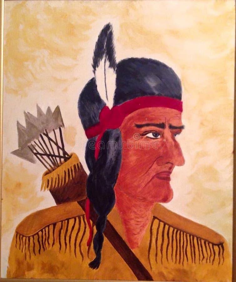Indiański wojownik, strzałki, strzały, Haczący nos, Czerwony faborek zdjęcia stock