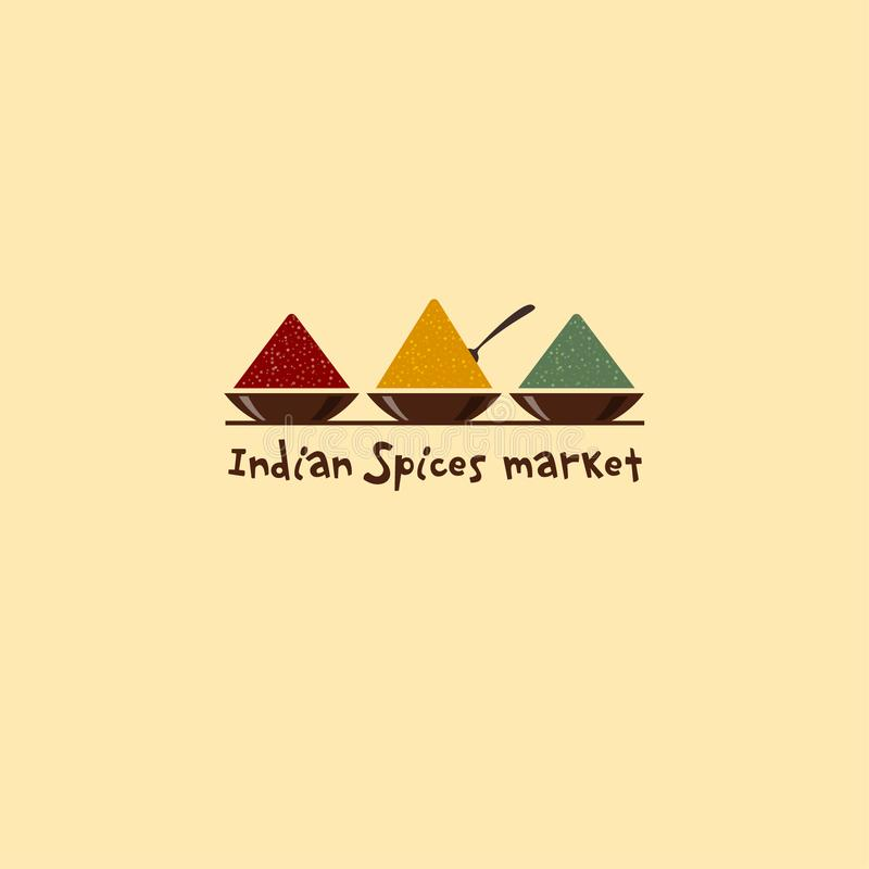 Indiańskich pikantność targowy logo Pikantność emblemat Z pikantność trzy pucharu royalty ilustracja