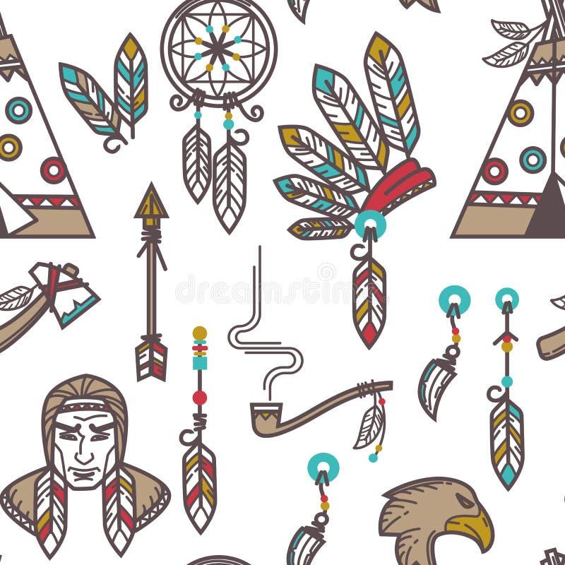 Indiańskich plemię rzeczy Amerykańskich rodzimych indianów bezszwowy wzór ilustracji