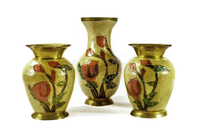 Indiańskie Mosiężne wazy obrazy stock