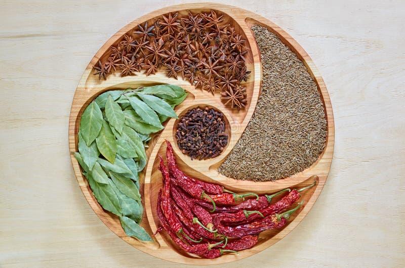 Indiańskie pikantność na drewnianym talerzu: gwiazdowy anyż, zatoka liście, papryka, wysuszeni cloves i kminu zamknięty up, Pikan obraz stock