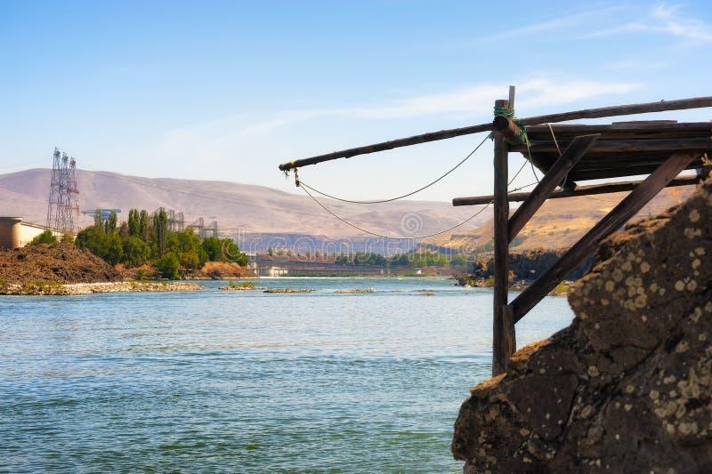 Indiańskie połów platformy na Kolumbia rzece obrazy stock