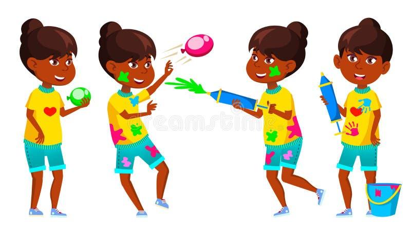 Indiańskie pozy Ustawiający dziewczyna dzieciaka wektor Szkoły Podstawowej dziecko Wiosny Holi festiwal nastolatek hinduski azjac royalty ilustracja