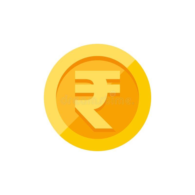 Indiańskie rupie symbolu na złocistej monety mieszkania stylu ilustracji
