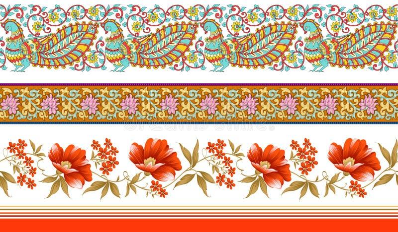 Indiańskie tradycyjne kwieciste granicy ilustracji