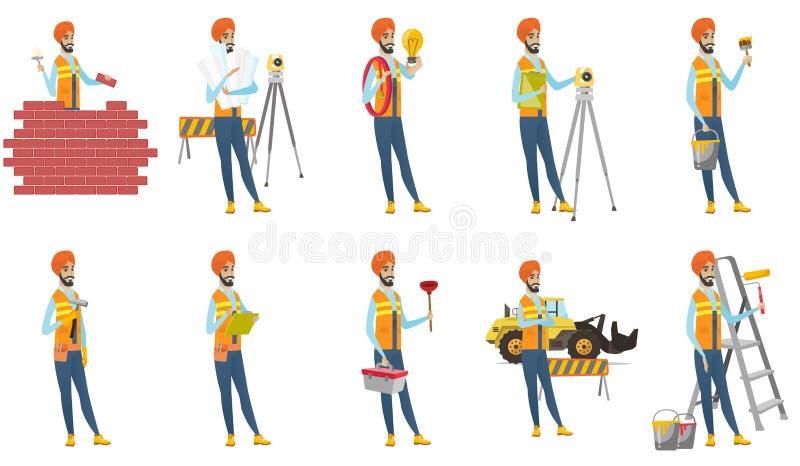 Indiańskiego budowniczego wektorowe ilustracje ustawiać ilustracji