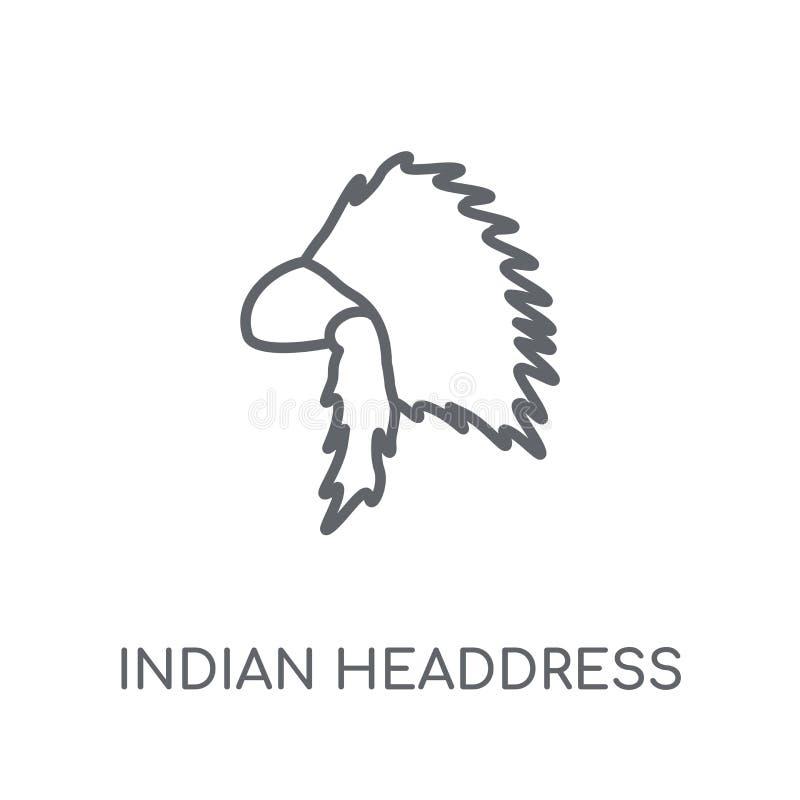 Indiańskiego pióropuszu liniowa ikona Nowożytnego konturu pióropuszu Indiański lo royalty ilustracja
