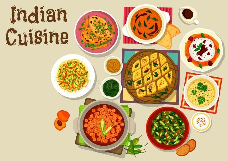 Indiańskiej kuchni menu obiadowa ikona dla karmowego projekta royalty ilustracja