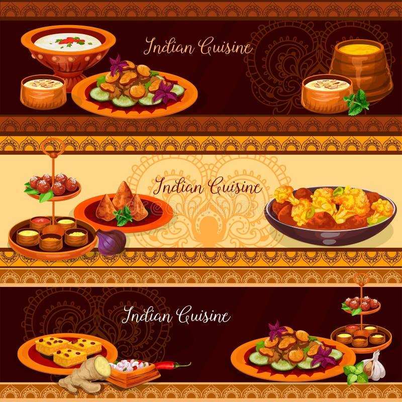Indiańskiej kuchni sztandaru tradycyjny karmowy set royalty ilustracja
