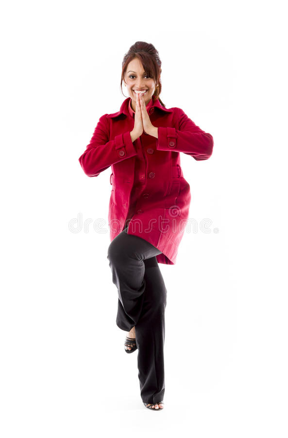 Download Indiańskiej Młodej Kobiety ćwiczy Joga Zdjęcie Stock - Obraz złożonej z jeden, kopiasty: 41950286