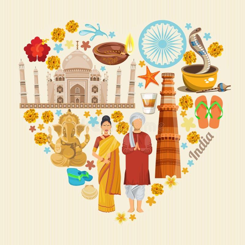 Indiańskiej podróży kolorowy szablon serce odizolowane kształtu white pomidorowego Kocham India ilustracyjny retro przestrzeni st ilustracji