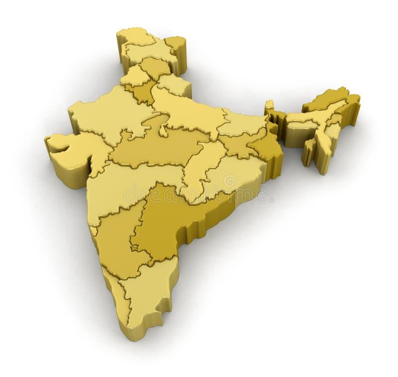 india översikt royaltyfri illustrationer
