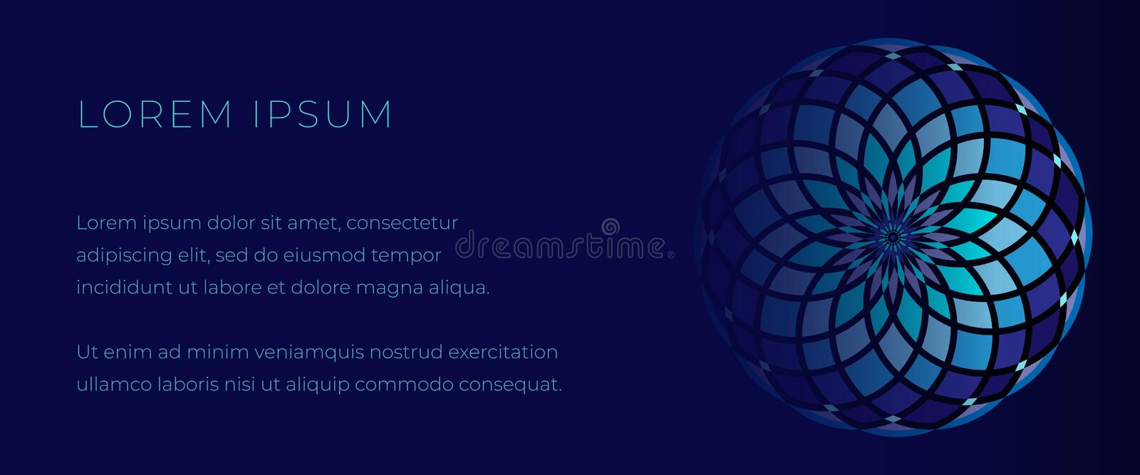 Deep blue template for web banner with mosaic mandala vector illustration