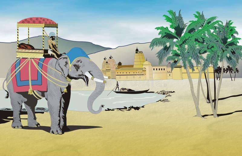 Download India stock illustrationer. Illustration av lake, howdah - 504902