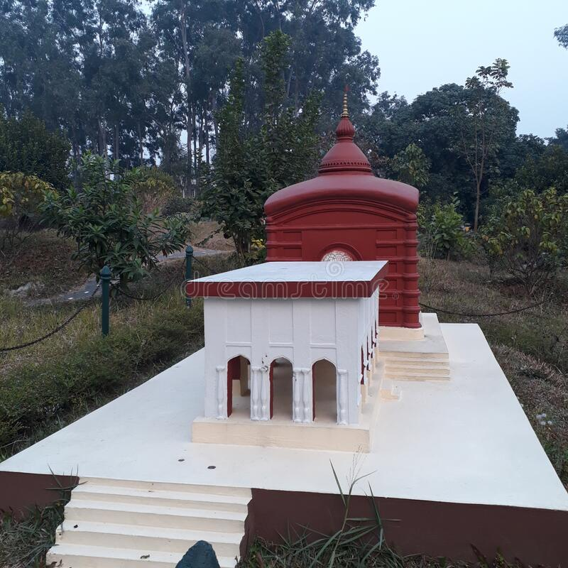 In India in Tripura at the Agartala situated the small statu of Udaypur`s temple  mahal. In India at the Agartala situated  the small statu of Udaypur`s temple stock photography