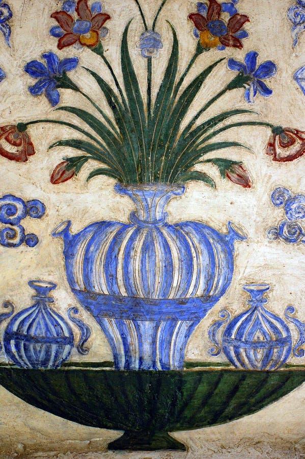 India, Agra: mausoleum het oude schilderen stock fotografie