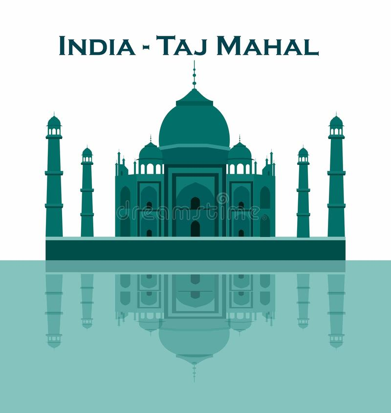 India Agra, reis, Oriëntatiepunt Architectuur van de Taj de mahal cultuur Unesco-Werelderfenis mausoleum vector illustratie