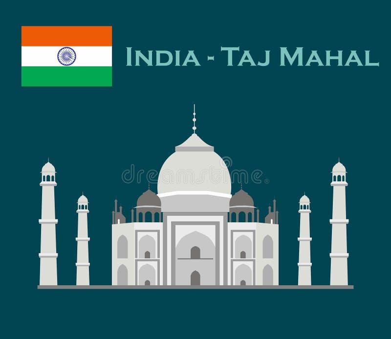 India Agra, reis, Oriëntatiepunt Architectuur van de Taj de mahal cultuur Unesco-Werelderfenis Mausoleum - ivoorpaleis stock illustratie