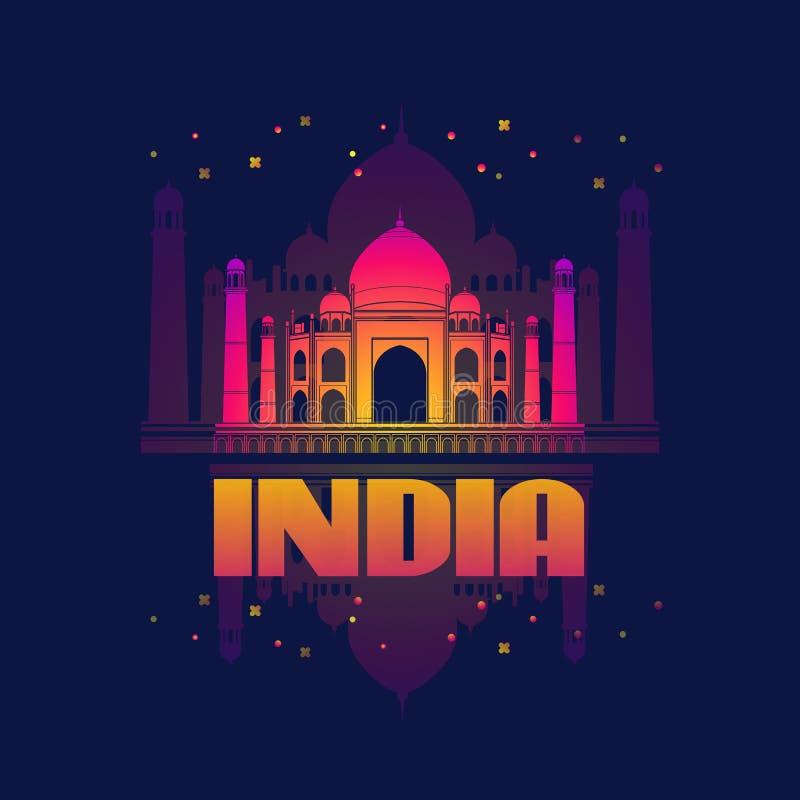 India. Agra. Taj Mahal Card. Vector illustration. stock illustration