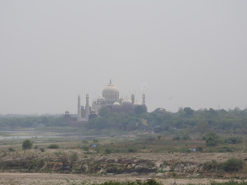 India. Agra. A view of Taj Mahal from a wall of the Red Fort royalty free stock image