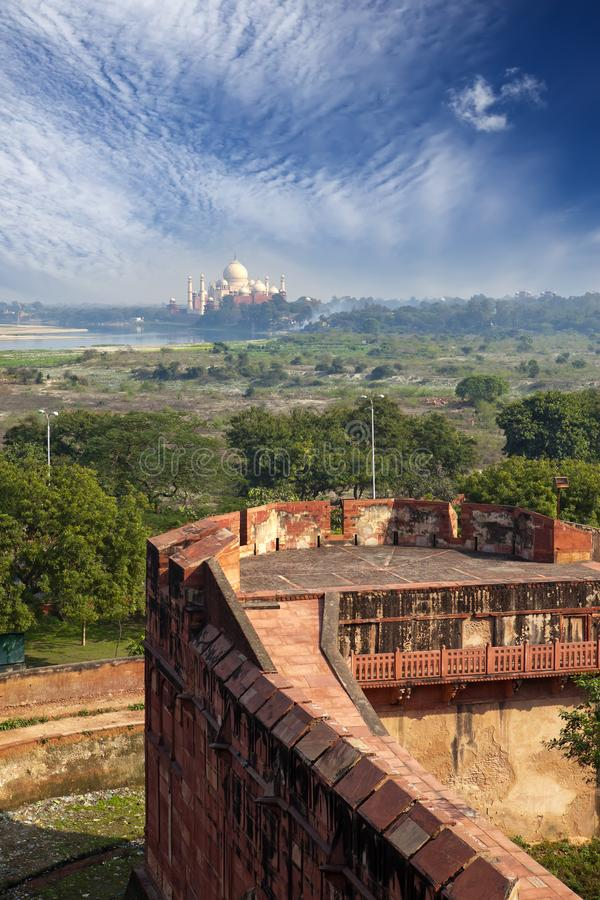 India. Agra. A view of Taj Mahal from a wall of the Red Fort stock photo