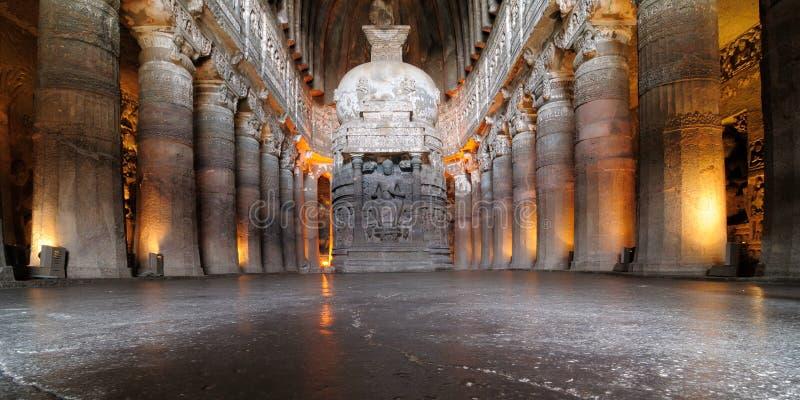 India, Ajanta Buddyjska jama obraz stock