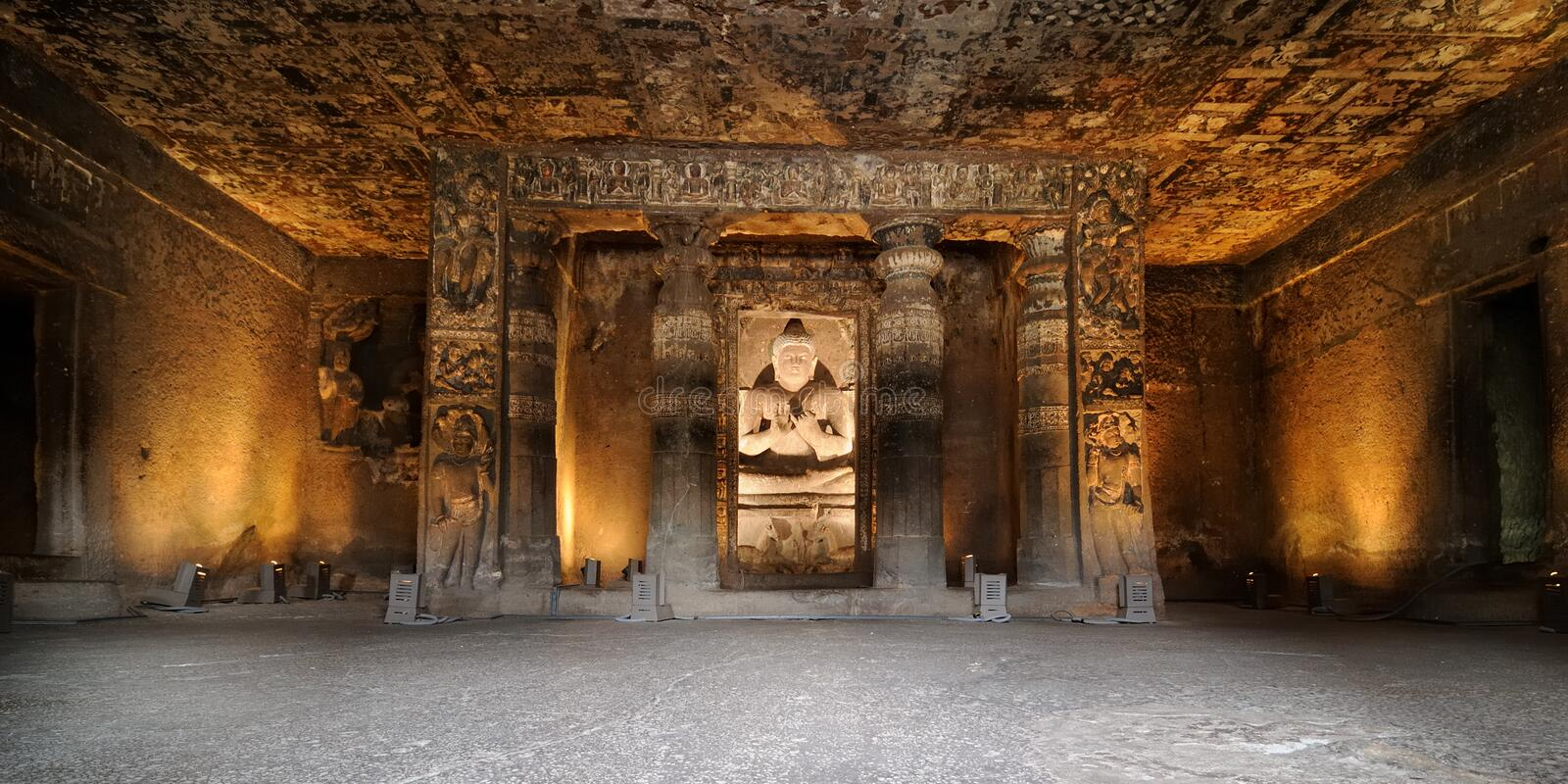 India, Ajanta cave. Buddhist temples forged in rocks in the Ajanta town in India, Maharashtra, India (Unesco stock photography