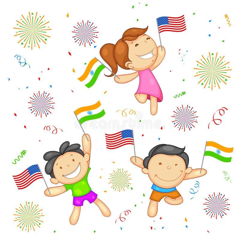 India-America relationship vector illustration