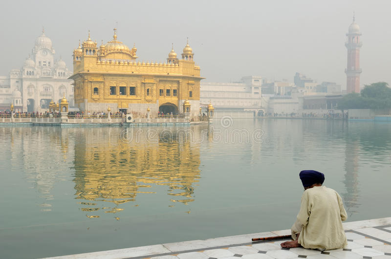 India, Amristar. Golden temple (Sri Harimandir Sahib) in Amritsar. It is a central religions place of the Sikhs royalty free stock photo