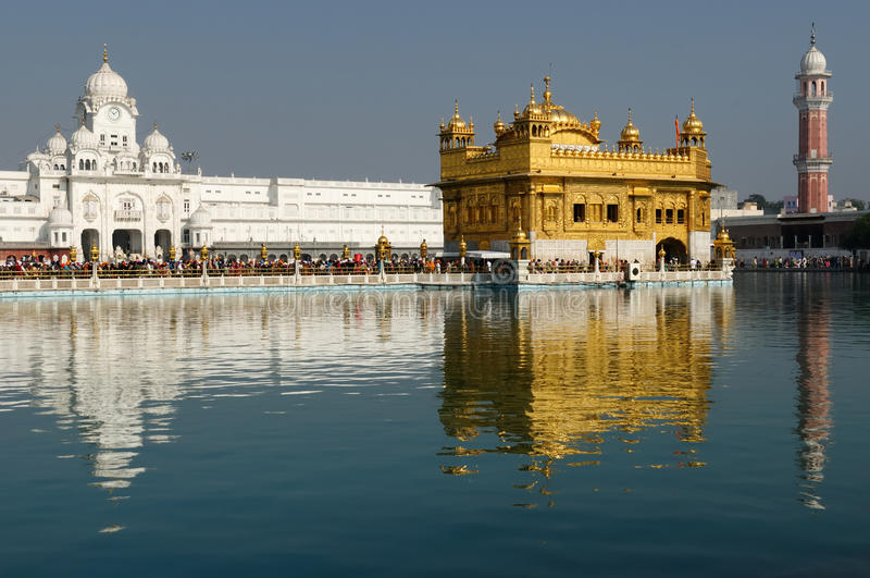 India, Amristar. Golden temple (Sri Harimandir Sahib) in Amritsar. It is a central religions place of the Sikhs stock images