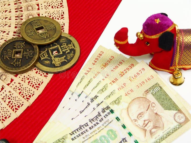 India anc Chiny pieniądze zdjęcie stock