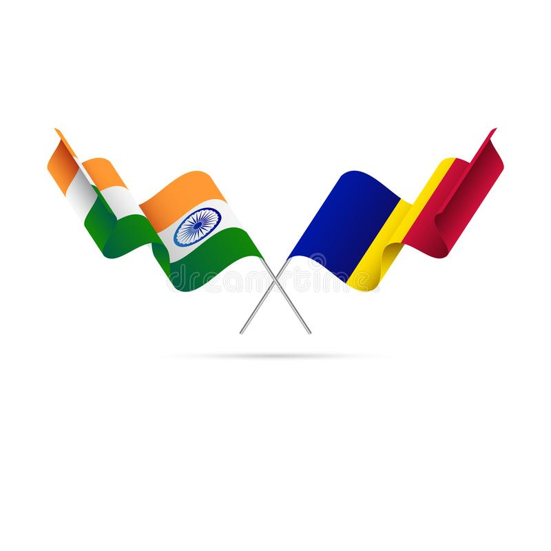 India and Andorra flags. Vector illustration. India and Andorra flags. Waving flag royalty free illustration
